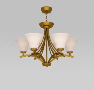 6灯吸吊两用铜吊灯