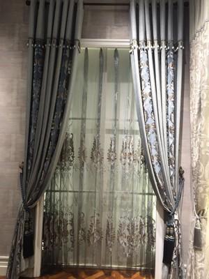 WA944 窗帘布艺 现代简约欧式客厅 高档雪尼尔绒绣花镂空拼接