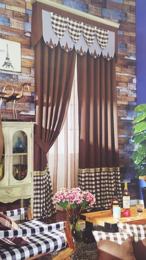 1533窗帘布艺 咖色格子布简约现代北欧风客厅卧室书房 棉麻环保